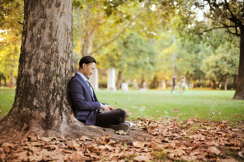 Side View Photo of Man Sitting on the Ground By a Tree Using a Laptop