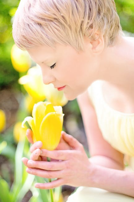 New free stock photo of woman, flowers, yellow
