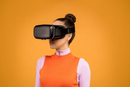 Woman Using  Virtual Reality Goggles