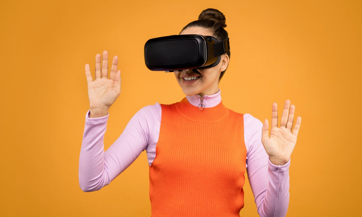 Woman Using Black Vr Goggles