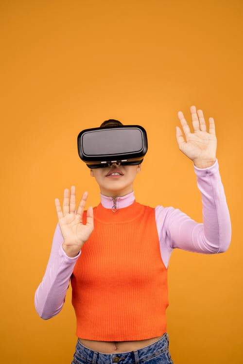 Woman Experiencing the Wonder of Virtual Reality