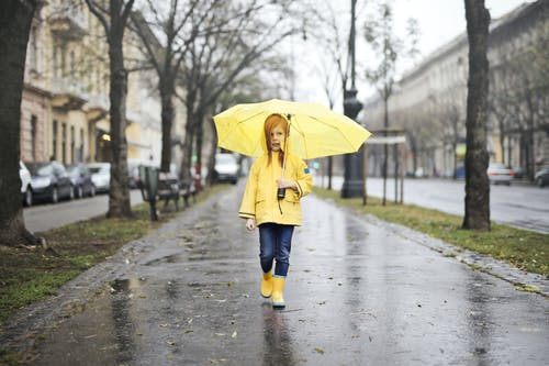 Girl in Yellow Raincoat and Yellow Boots Holding Yellow Umbrella Walking on Gray Concrete Side Walk