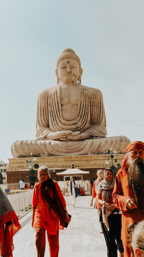 Ethnic people visiting famous Buddhist sight in India