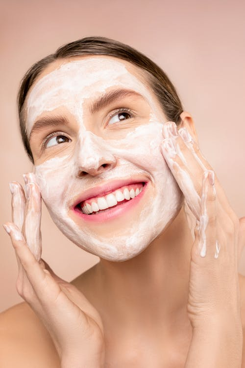 Woman With Soap on Her Face