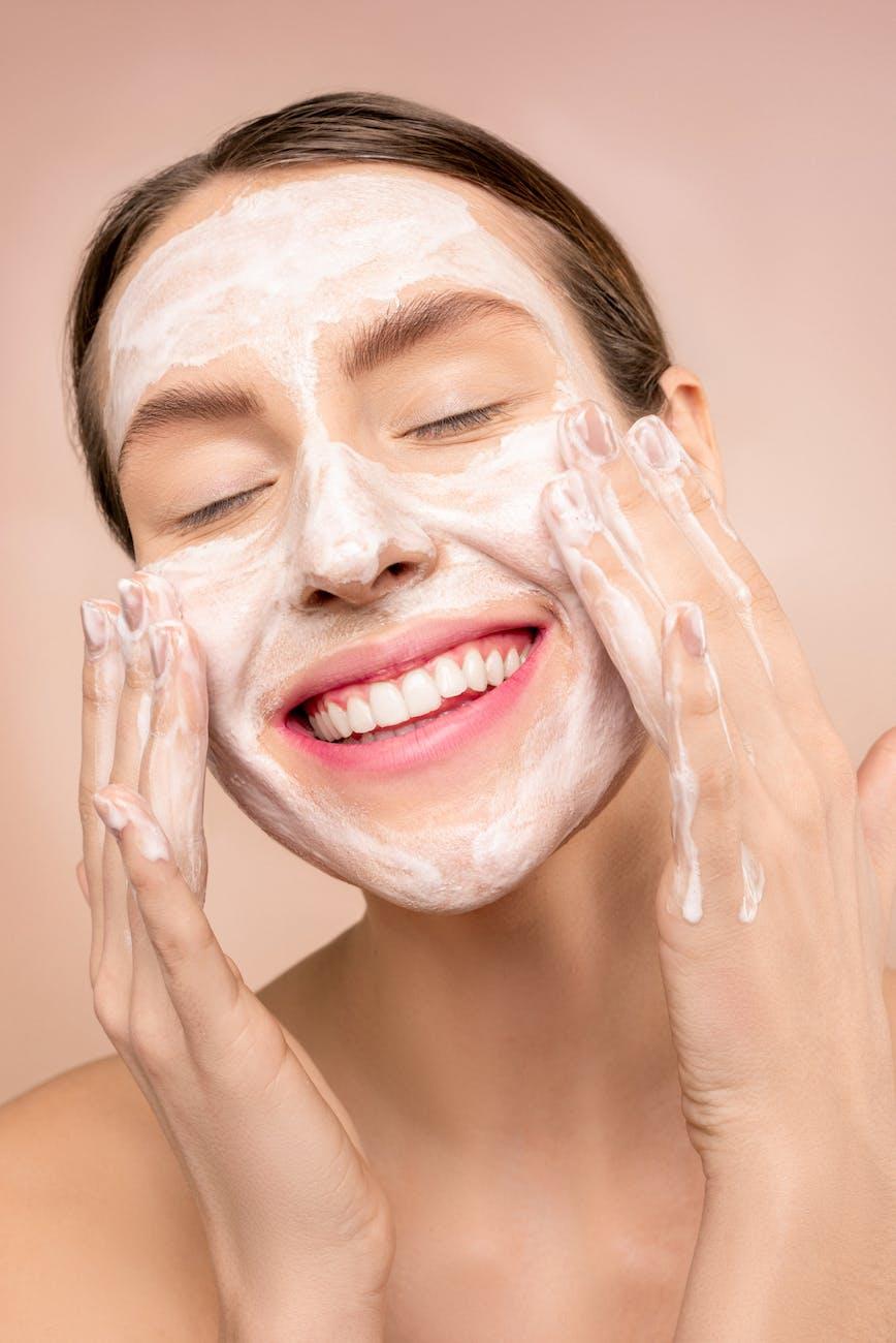 Women washing her face