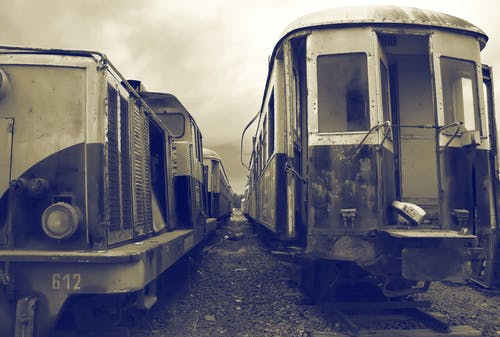 Free stock photo of ancient, black and white, old station, old trains