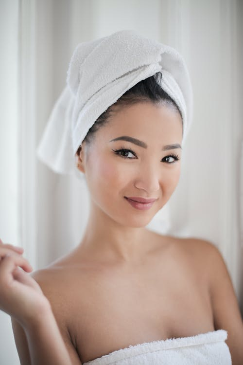 Woman in White Bath Towel