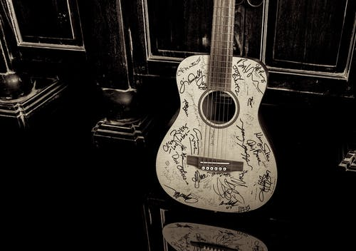 Free stock photo of autograph, dark, Martin Guitar, signature