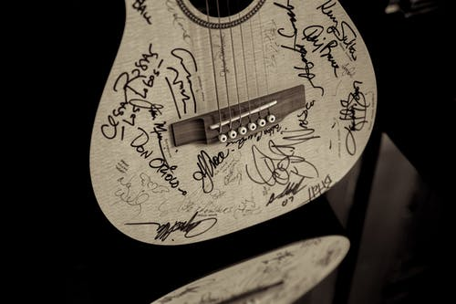 Free stock photo of autograph, dark, guitar, heart