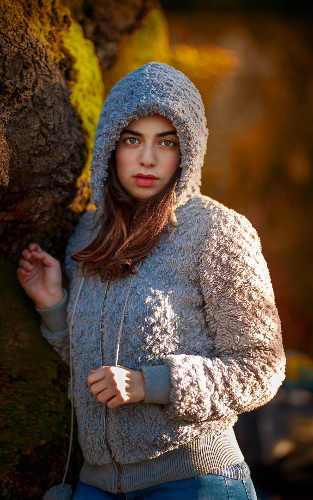 Woman Wearing Gray Wool Hoodie