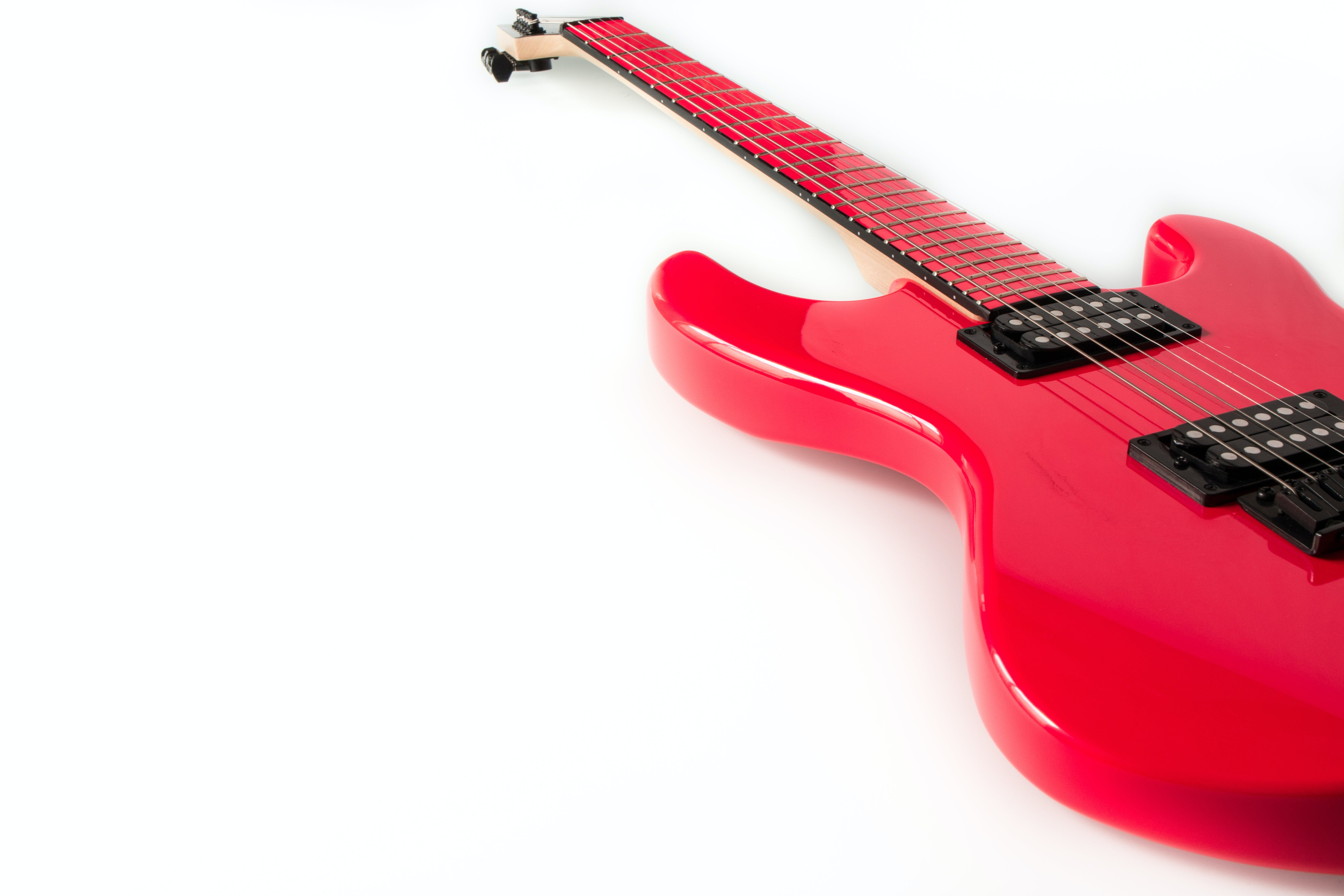 of electric guitar, guitar, isolated, pink