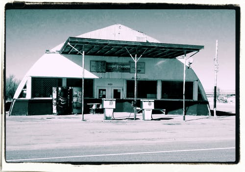 White and Gray Gasoline Station