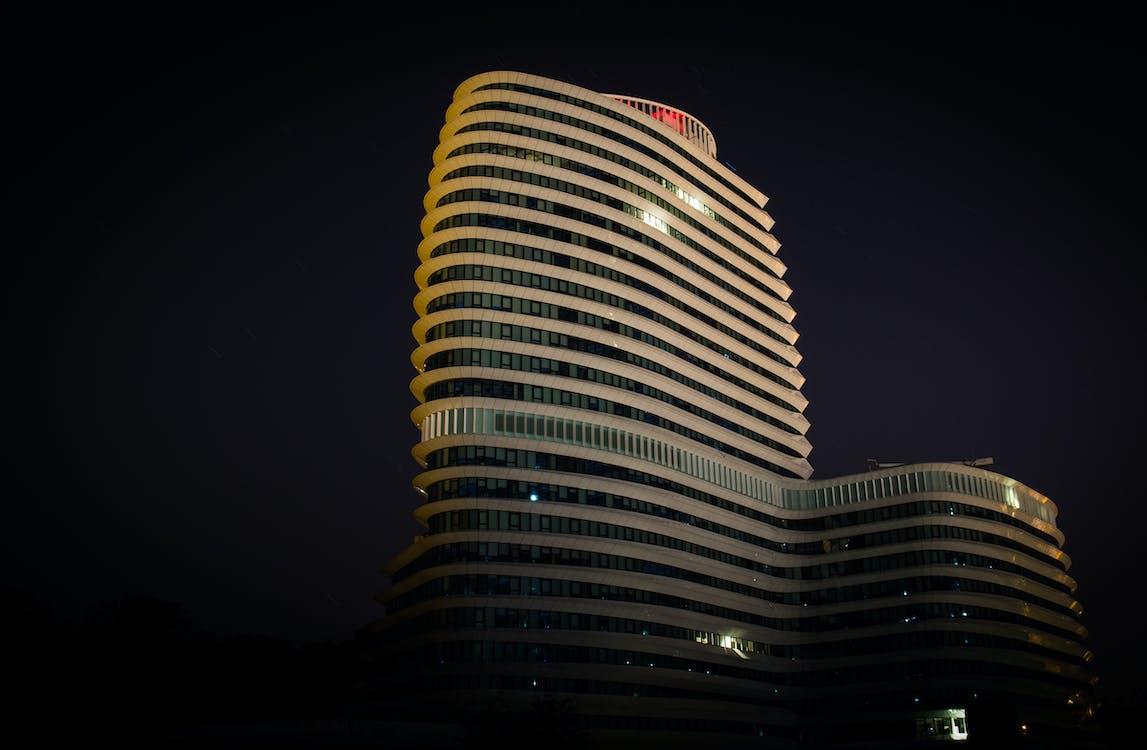 arquitectura, edificio, noche