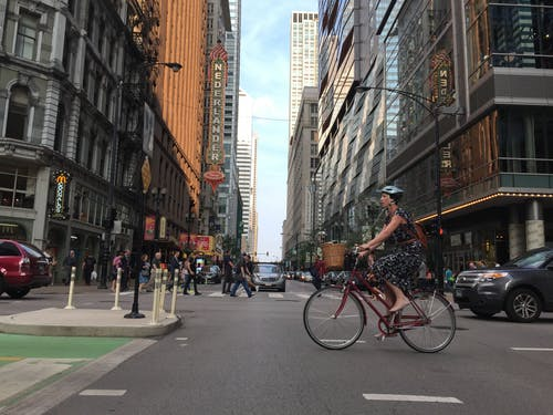 Free stock photo of bicycle, chicago, Dearborn street, summer