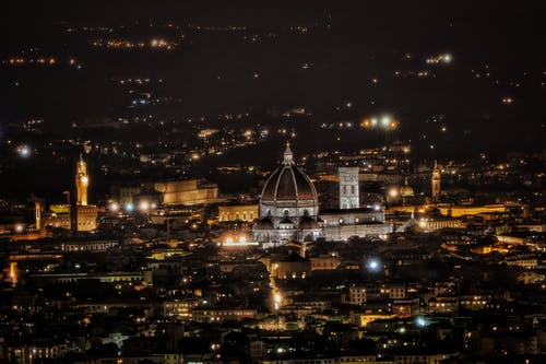 Illuminated cityscape of old city at night
