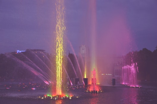 Free stock photo of fountain, colors, moscow, colored fountain