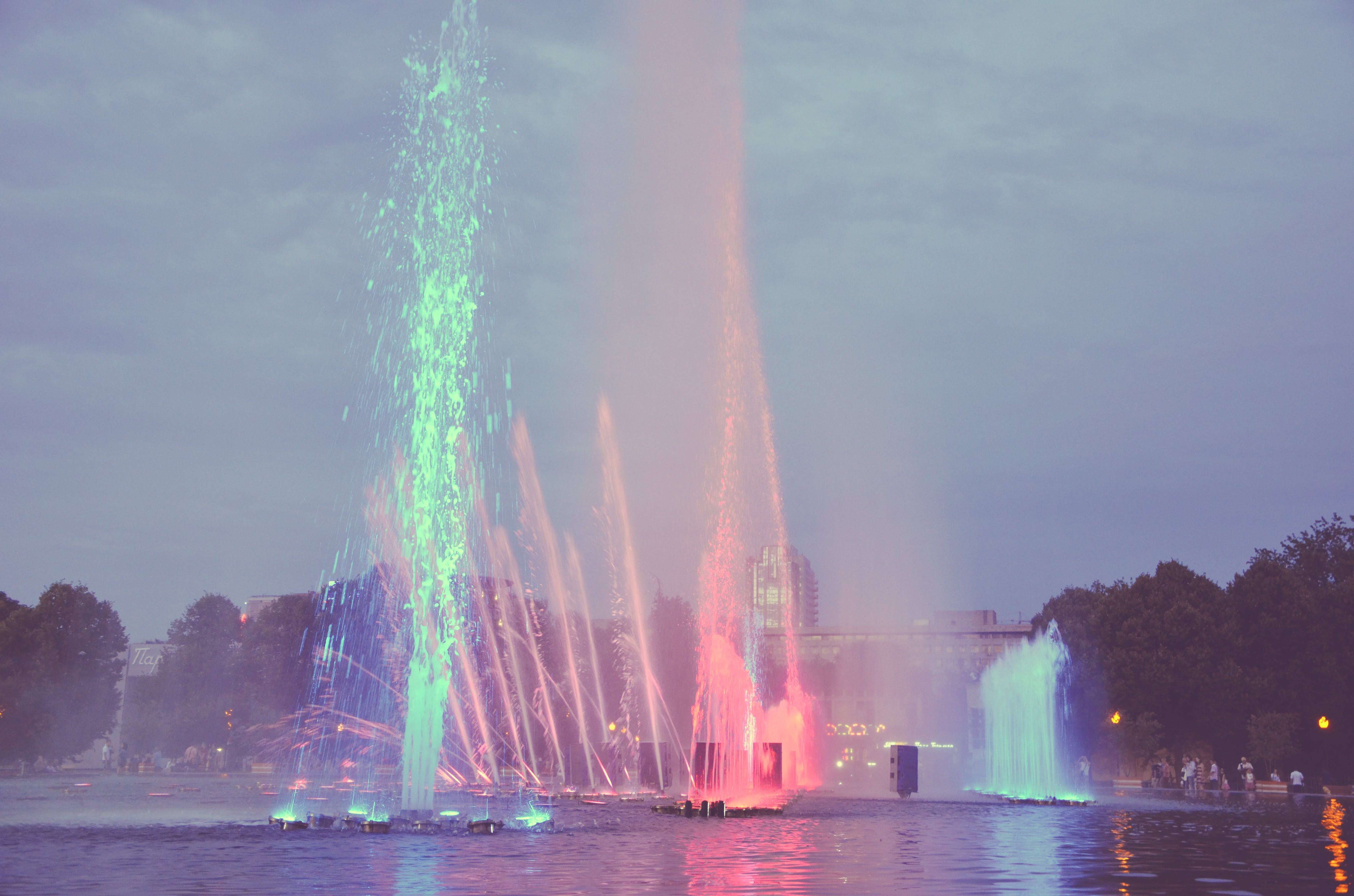 Free stock photo of colored fountain, colors, fountain, fountain show