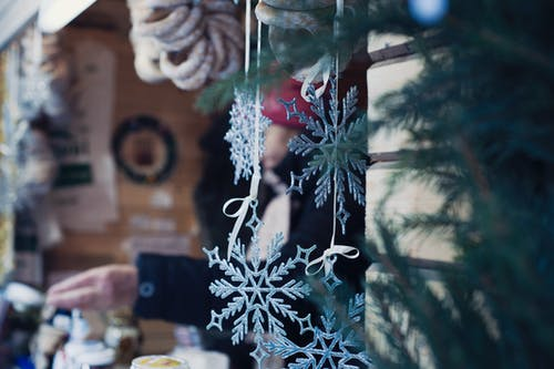 Shallow Focus Photography of Snowflakes Christmas Tree Decor