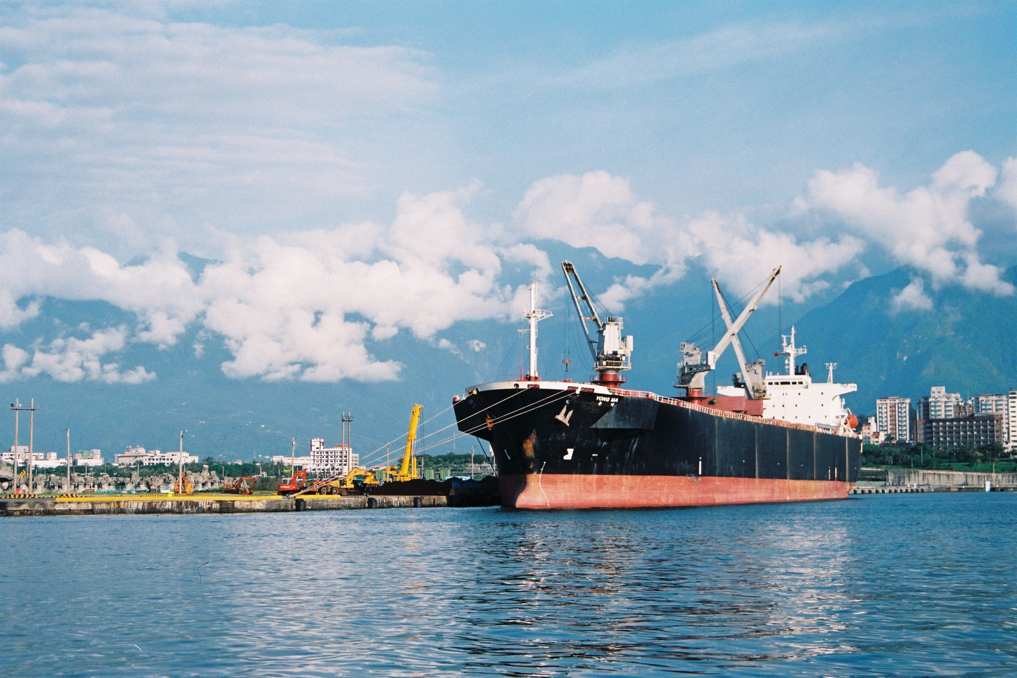 Free stock photo of cargo ship, city, cityscape, clouds