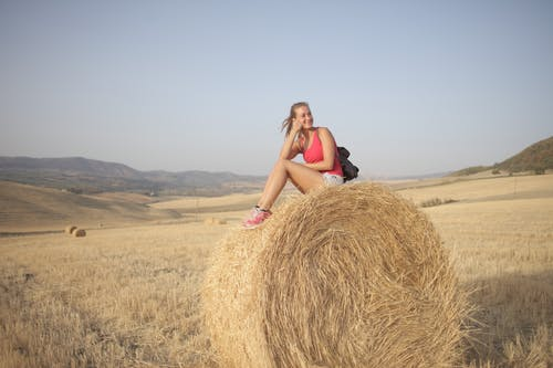 Woman in Pink Tank Top Sitting on Brown Hay Roll