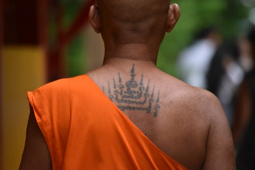 Man With Black Tattoo on His Back