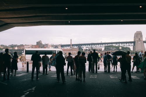 People Standing on Gray Concrete Floor
