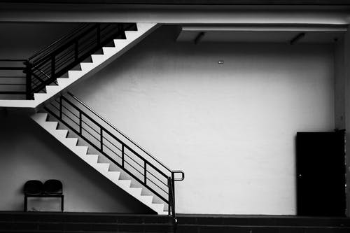 Black and White Photo of Staircase