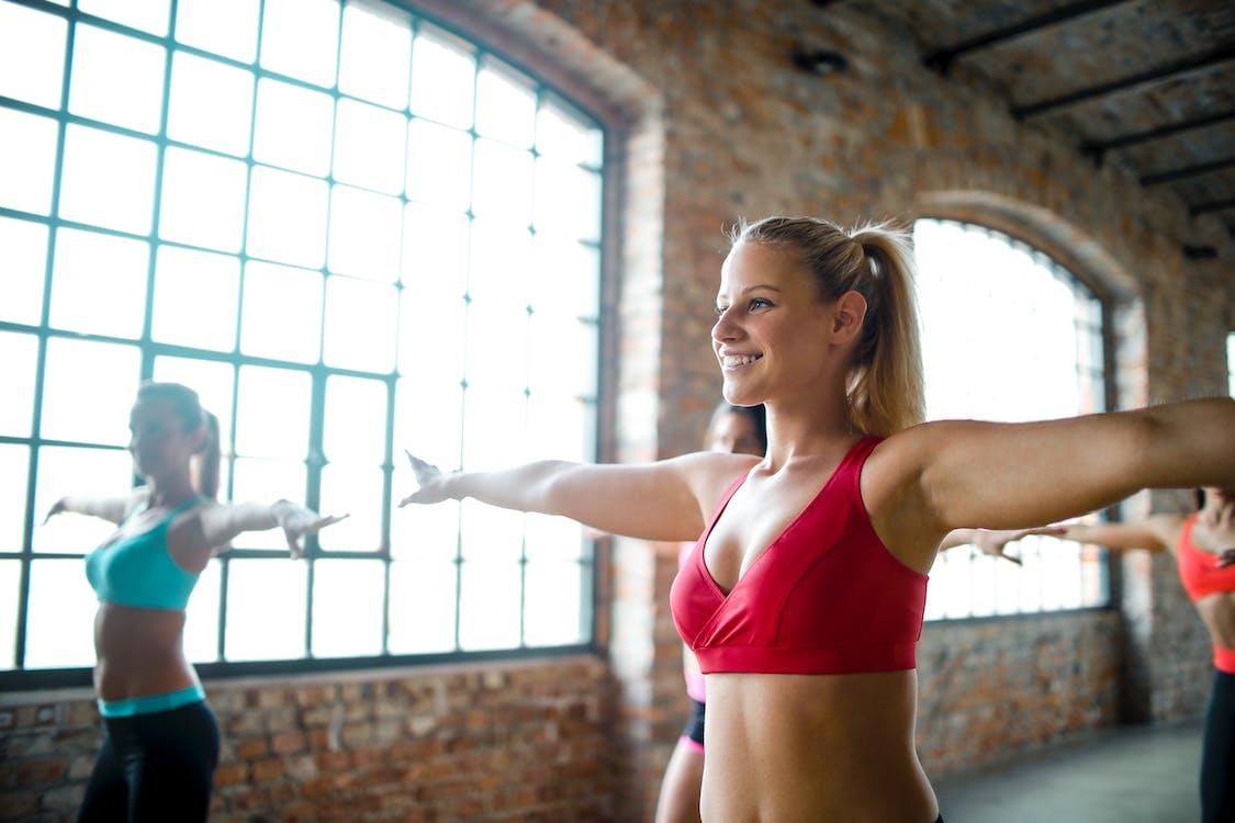 Woman Wearing Red Sports Bra