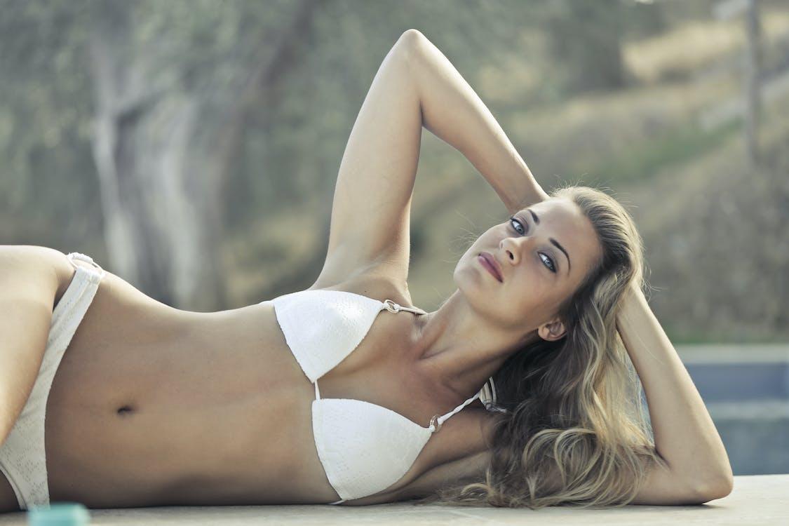Woman Wearing White Bikini