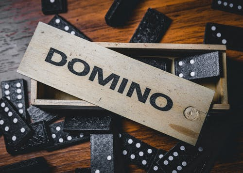 Set of domino on wooden table