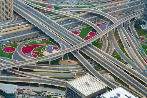 altyapı, asfalt yok, çevre yolu, drone çekimi içeren Ücretsiz stok fotoğraf
