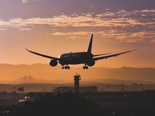 Weißes Passagierflugzeug, Das Während Des Sonnenuntergangs über Der Stadt Fliegt