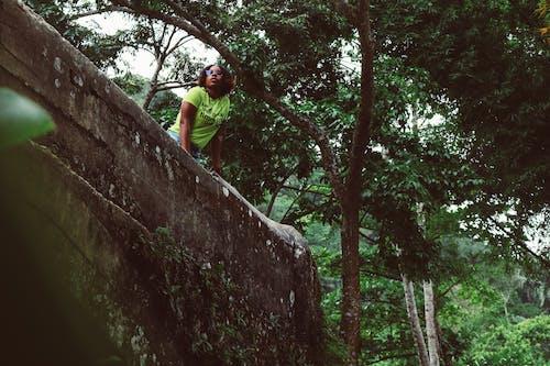 Czarna Kobieta Odwiedza Egzotyczny Zielony Park