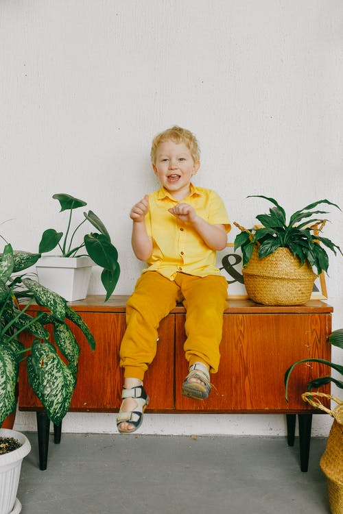 Child in Yellow Polo Shirt and Pants Sitting on Brown Wooden Cabinet