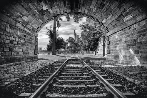 Free stock photo of outlook, railroad tracks, tunnel, urban