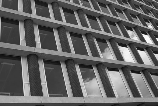 Free stock photo of black-and-white, building, architecture, windows