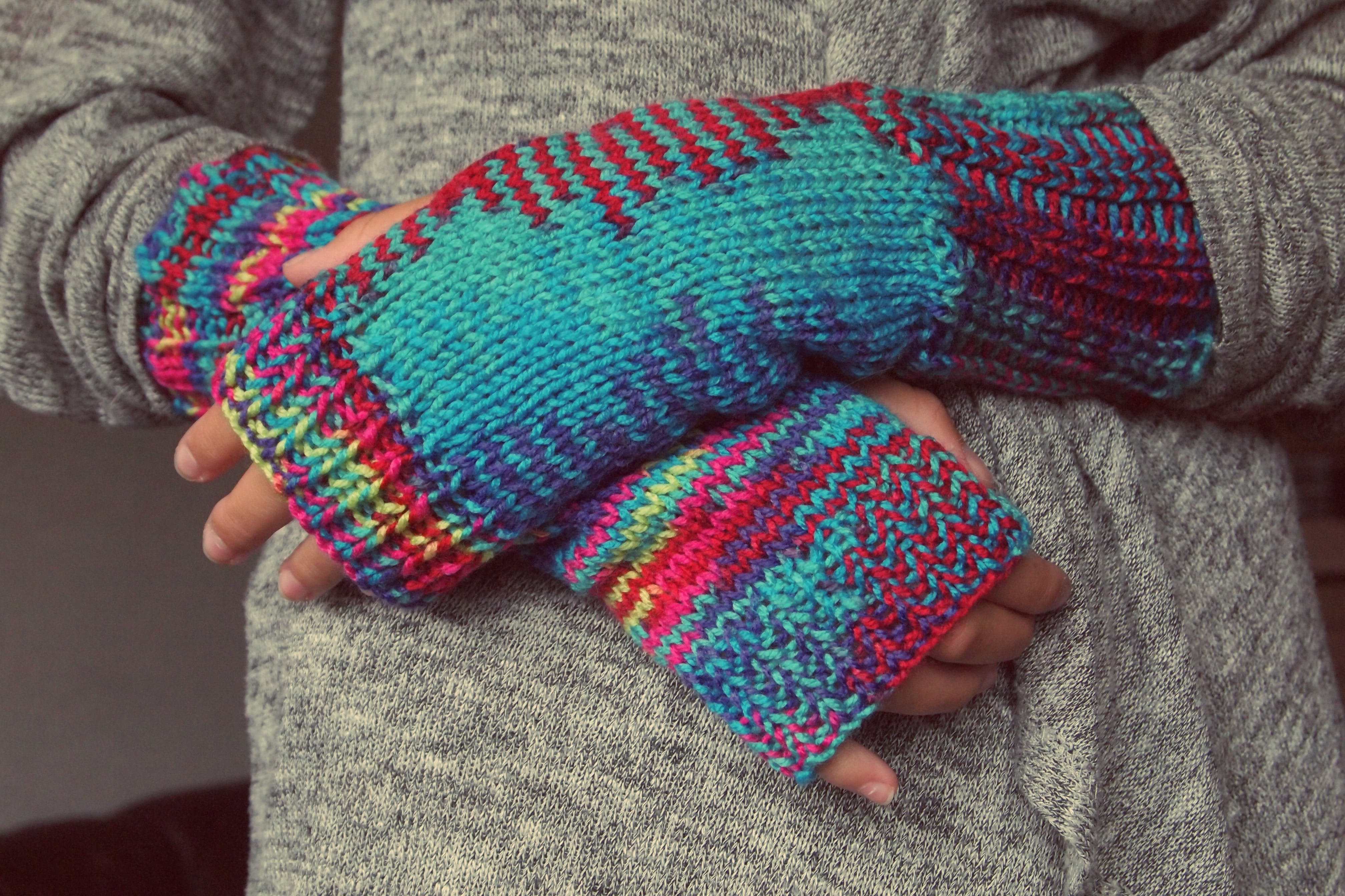 Gray Cyan and Red Knitted Sweater