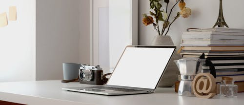 Computer Laptop On White Table