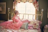 woman, bed, bedroom