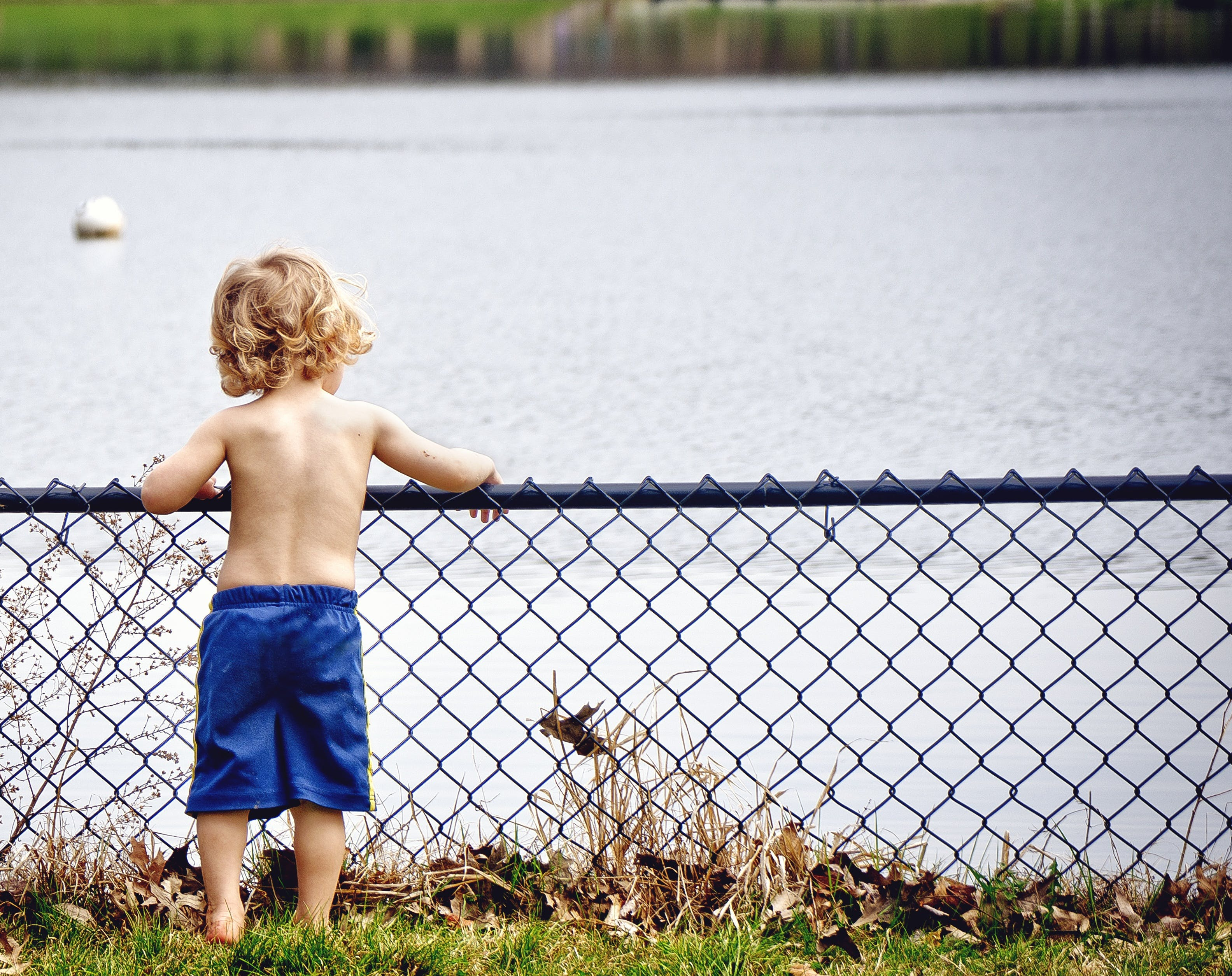 Boy Wearing Blue Shorts Standing over the Purple Metal Rails Overlooking Body of Water