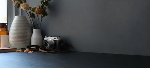 Classic Camera and Flower Vase Near Glass Window
