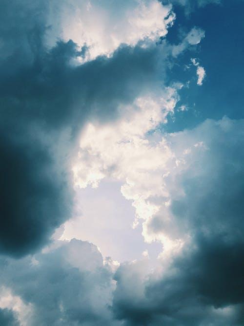 Cloudy blue sky with sun light