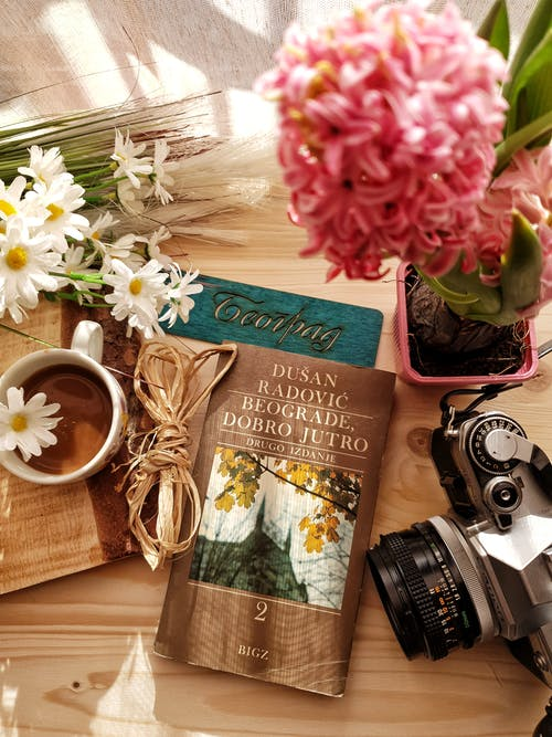 Vintage photo camera novel and flowers with coffee cup