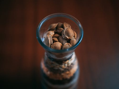 Brown Beans in Clear Glass Cup