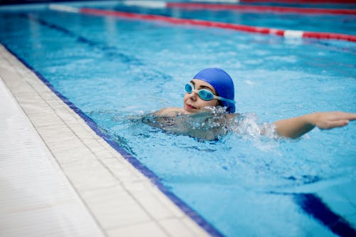 Person in Swimming Goggles in Swimming Pool