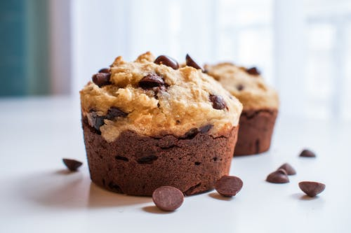 Brown Muffins with Chocolate Chips