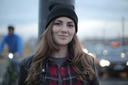 Woman Wearing Black Knit Cap