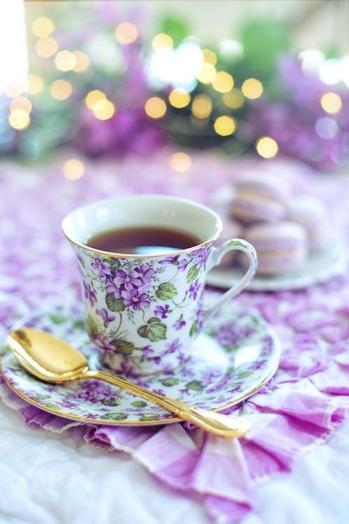 White and Purple Floral Ceramic Mug on Saucer