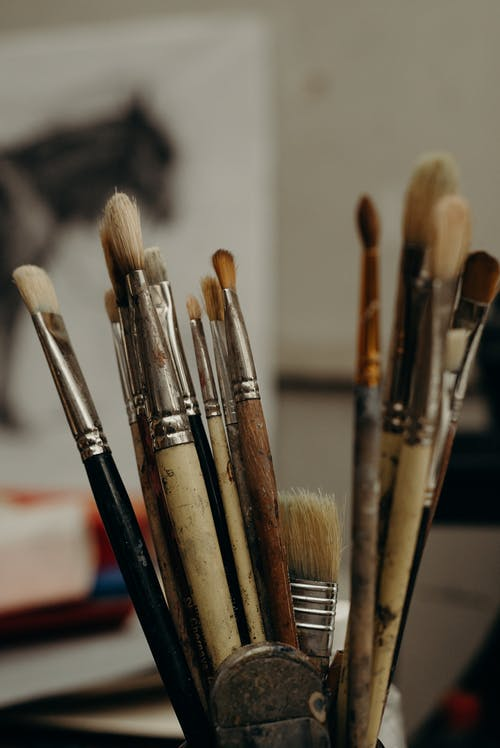 Brown and Black Paint Brushes