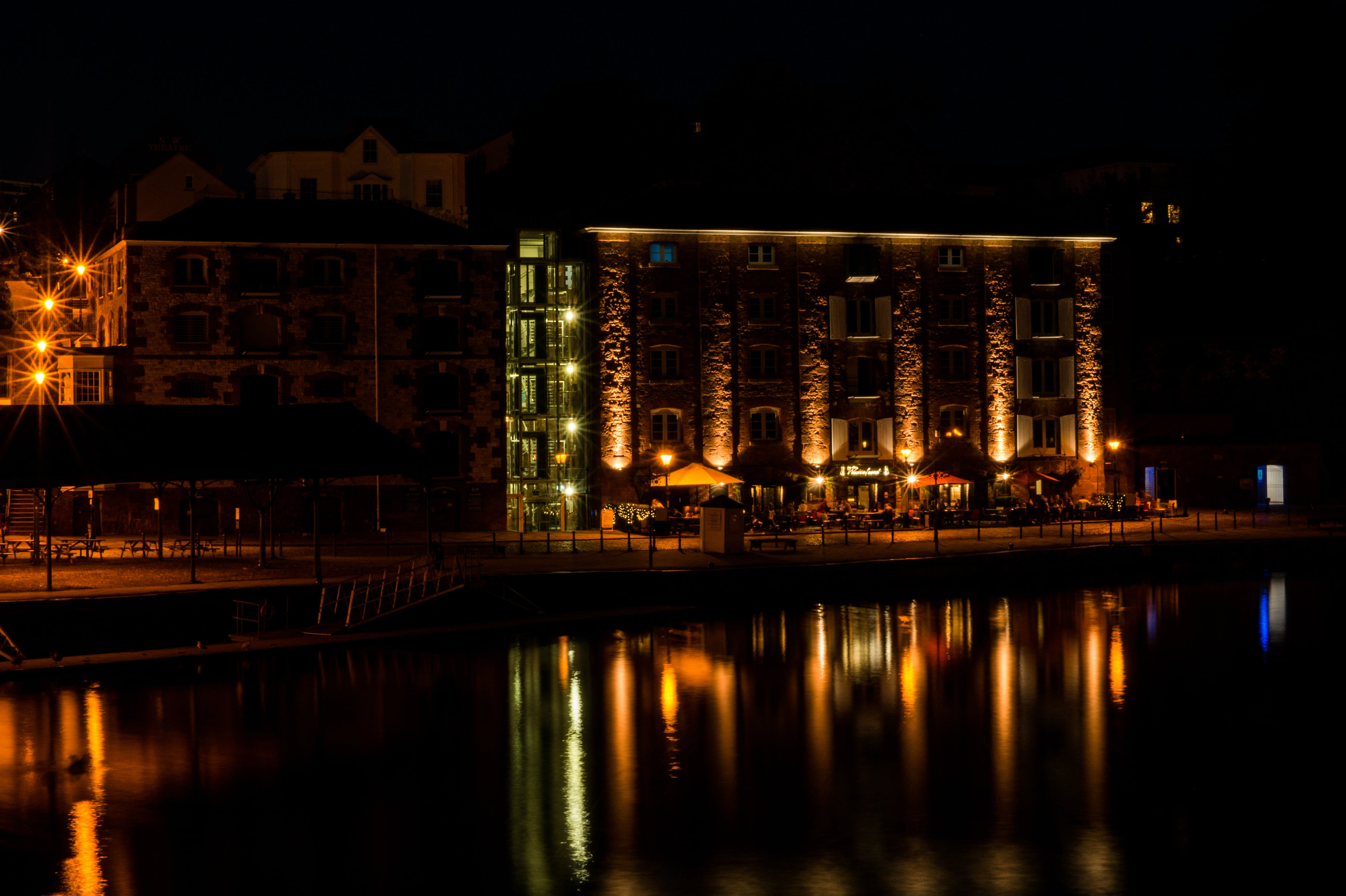 lights, night, reflections